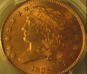 1835 1/2c PCGS MS 65 RED BROWN (CAC)