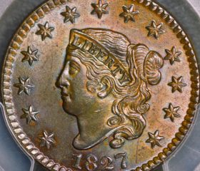 1827 1c Coronet Head Large Cent PCGS MS64 BN