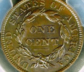 1836 1c Coronet Head Large Cent PCGS MS63 BN